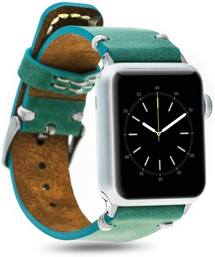 Authentic Leather Band for 38mm Apple Watch by Bonetti Case (Turquoise)