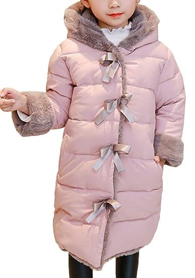 9a93ee19345b Bevalsa Enfant Fille Gaçon Manteau d hiver Doudoune Neige Capuche Doux Bow Fourrure  Longue Blouson