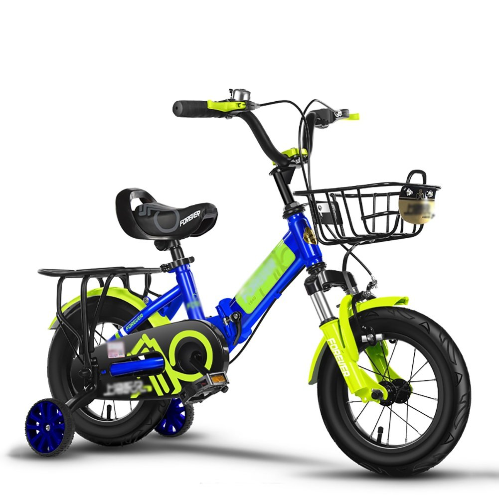 子供の自転車の男の子のベビーカー折りたたみ衝撃吸収自転車の女の子の赤ちゃんのペダル3-10歳のピンクブルーシルバーレッド B07DV5BQ15 14 inch|青 青 14 inch