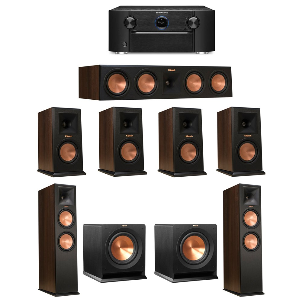 Klipsch 7.2 Walnut System with 2 RP-280F Tower Speakers, 1 RP-450C Center Speaker, 4 Klipsch RP-150M Bookshelf Speakers, 2 Klipsch R-110SW Subwoofer, 1 Marantz SR7011 A/V Receiver by Klipsch