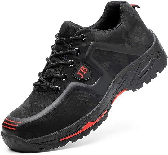 GUFANSI Scarpe antinfortunistiche da uomo con punta in acciaio, suola in acciaio, leggere, sportive, per escursioni, per l'estate e l'inverno