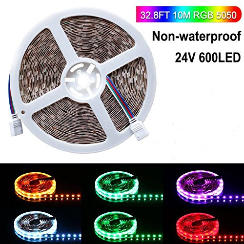 Lahoku RGB LED Strip Light Only, 5050 24V 10M/32.8ft 600 LEDs Led Light Strip Multicolour Changing LED Rope Strip Lighting Indoor Decoration,Kitchen, Mirror, Home Party (Non-Waterproof)