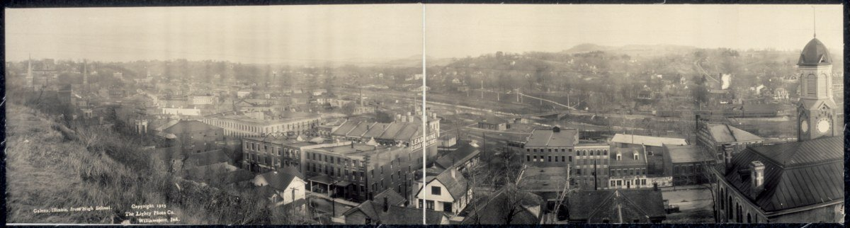 c1915 Galena, Illinois, from high school 30'' Vintage Panorama photo