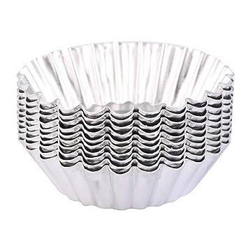 ISKYBOB 20 Piezas Molde de Aluminio Lata para Galletas & Tartas, Utensilio Taza Reutilizable de