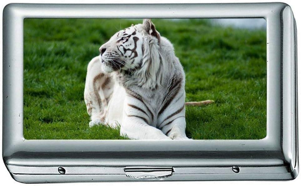 Cigarette Box, Tiger Albino 2 Cigarette Case/Box, Estuche para Tarjetas de crédito para Mujeres, Hombres