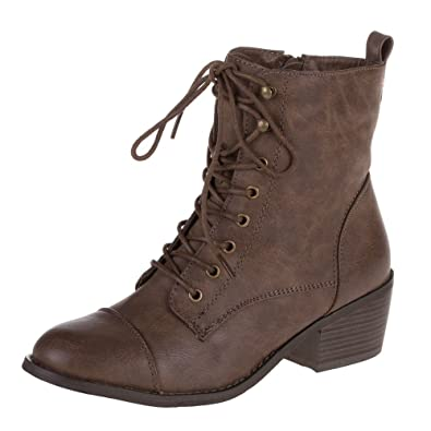 Damen Schuhe, STIEFELETTEN, USED LOOK SCHNÜRER BOOTS, 181-GA, Synthetik in e233816dac