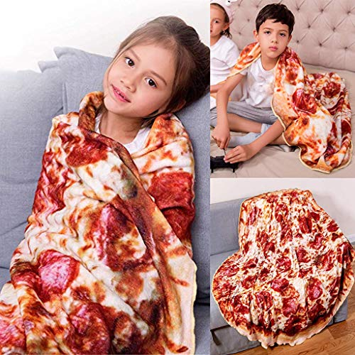 Pizza Burritos Tortilla Blanket, Mosunx Realistic Food Flannel Wrap Blanke, Novelty Throw Comfort Fleece Blanket for Baby Child Kids Toddler Infant Boys Girls (3D Pizza Printed, 60 Inch)
