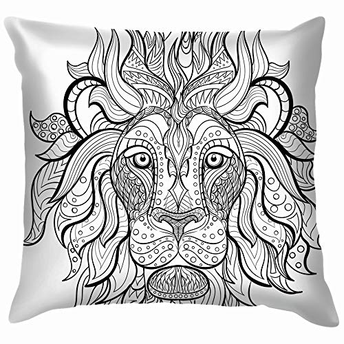 Hand Drawn Ink Coloring Book Animals Wildlife Mandala Nature Cotton Linen Home Decorative Throw Pillow Case Cushion Cover for Sofa Couch 12X12 Inch