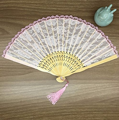 Fashion Vintage Spanish Pink Bamboo Carved Lace Hand Held Fans Tulle ...