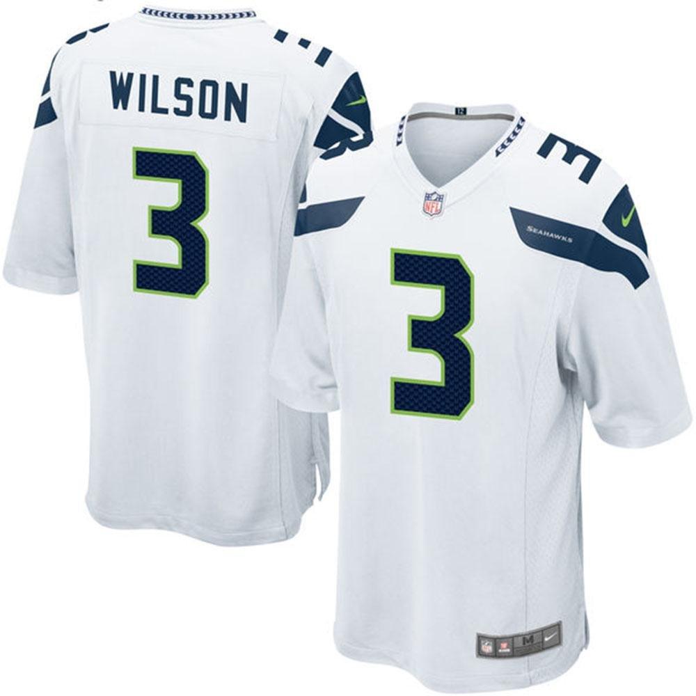 Nike(ナイキ) NFL シアトルシーホークス ラッセルウィルソン Game ユニフォーム (ホワイト) Small  B07BKQL3XG