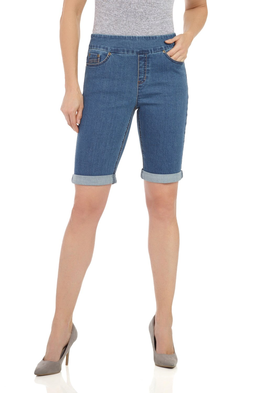 Rekucci Women's Ease in to Comfort Fit Stretch Jean Bermuda Short W/Cuff (6,Md. Stone Wash)