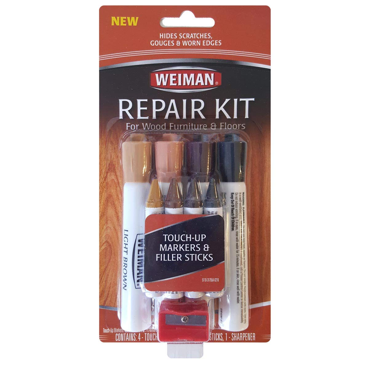 Weiman Wood Repair System Kit 4 Filler Sticks 4 Touch Up