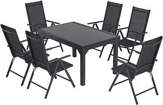 Laxllent – Juego de muebles de jardín, conjunto de asientos, sillas plegables, mesa extensible, cristal duro, ajustable, resistente al óxido, aluminio, mesa y sillas, color negro: Amazon.es: Jardín