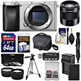 Sony Alpha A6300 4K Wi-Fi Digital Camera Body (Silver) with 50mm f/1.8 Lens + 64GB Card + Case + Battery & Charger + Tripod + Filters + Kit