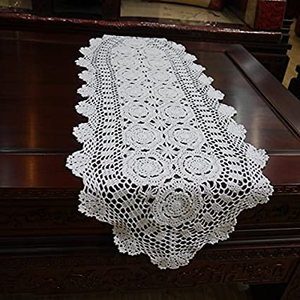 Amazon Com Hoomy Handmade Crochet Table Runner Cotton White Lace