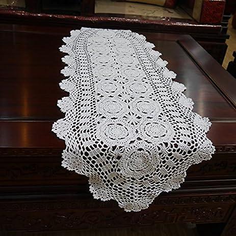 Hoomy Handmade Crochet Table Runner Cotton White Lace Table Runners Floral  Design Oval Table Runner For