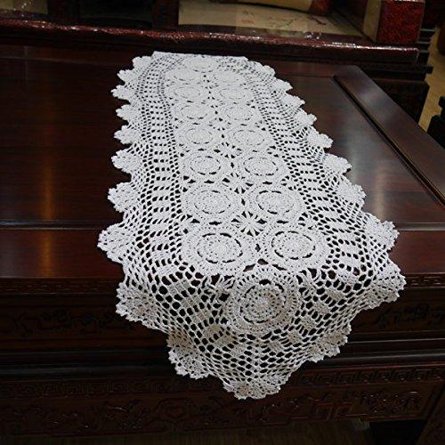 Hand Crocheted Runner (Hoomy Hand Crocheted Table Runner Lace Beige Table Runners Handmade Cotton Table Runner Oval 15