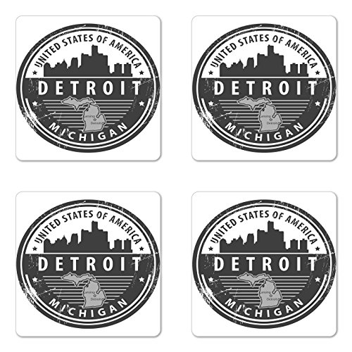 Ambesonne Detroit Coaster Set of Four, Damaged Old Stamp of Michigan USA with City Map Location Tourism Travel Icon, Square Hardboard Gloss Coasters for Drinks, Black White Grey -
