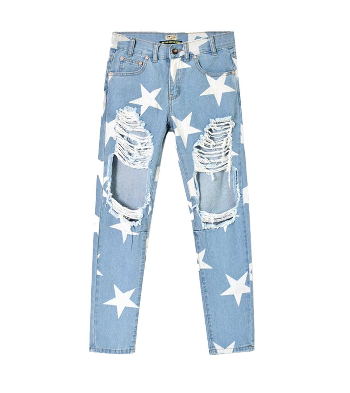 5b0b0a218c YiLianDa Mujeres Distressed Vaqueros Pantalones Mezclilla Denim Jeans  Boyfriend 70%OFF
