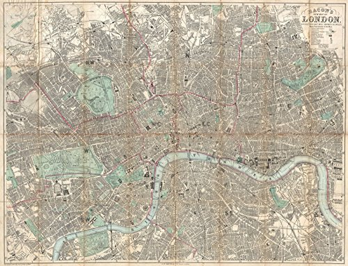 Historical 1890 Bacon Traveler's Pocket Map of London, England | 18 x 24in Fine Art Print | Antique Vintage Map