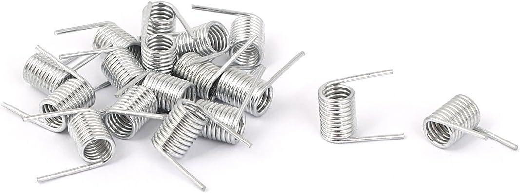 17 unidades Sourcingmap Resorte de torsi/ón recta chapado en zinc 0,7 x 5,8 x 8 mm