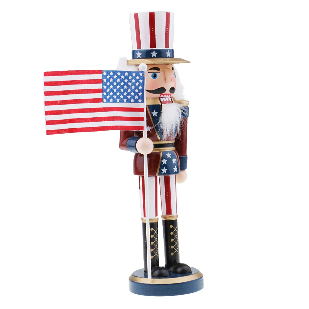 MagiDeal Walnut American Soldiers Christmas Wooden Nutcracker Soldiers Xmas Gift Table Decoration Puppet - #1