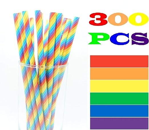 300 pajitas de papel de arco iris, 7.87 x 0.24 pulgadas ...