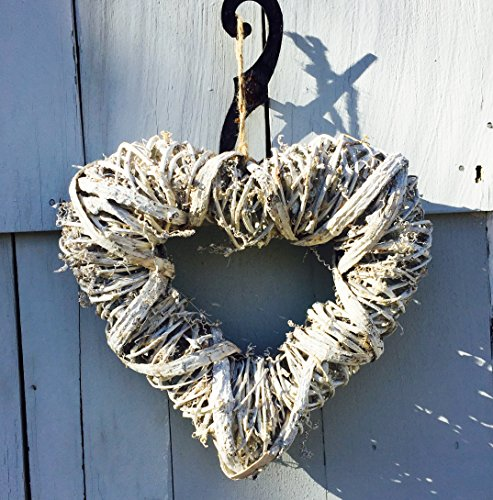 The Welcome Wreath Heart, 11 Inches Tall, Rustic Rattan, Weathered White,  by Whole House Worlds Heart Shaped Wreath