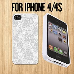 Lace Various Pattern Custom made Case/Cover/skin FOR Apple iPhone 4/4S - White - Rubber Case ( Ship From CA)