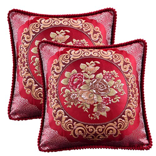 Loveliome Vintage Style Decorative Throw Pillow Cover, Floral Pillowcase Home Office Sofa Bed Chair Auto Seat Cushion Square Case, 18.5 x 18.5 Inches Pack of 2(Red)