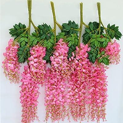 OUNONA Flores Artificial Glicinas Guirnalda Hogar Jardín Boda Decoración 12pcs (Rosa): Amazon.es: Hogar