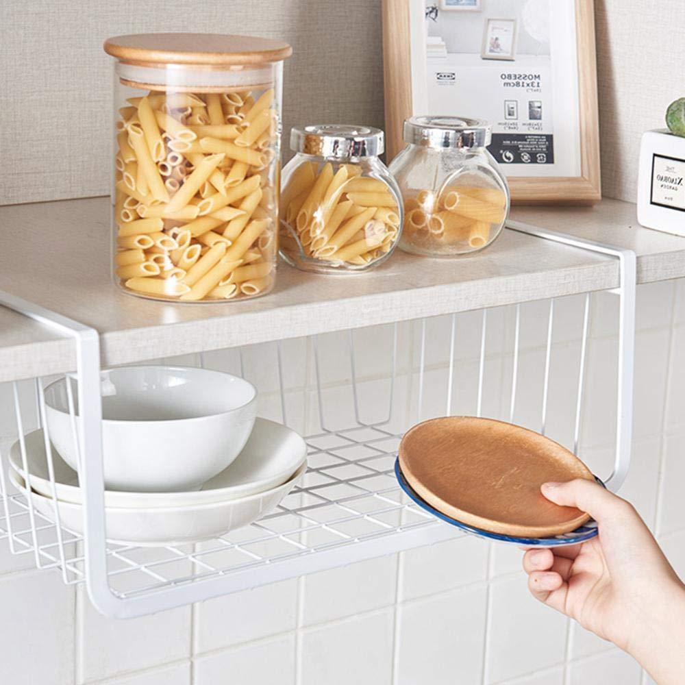 garde-manger Blanc armoire noir en fil m/étallique pour cuisine Womdee Panier de rangement /à suspendre sous une /étag/ère bureau salle de bain