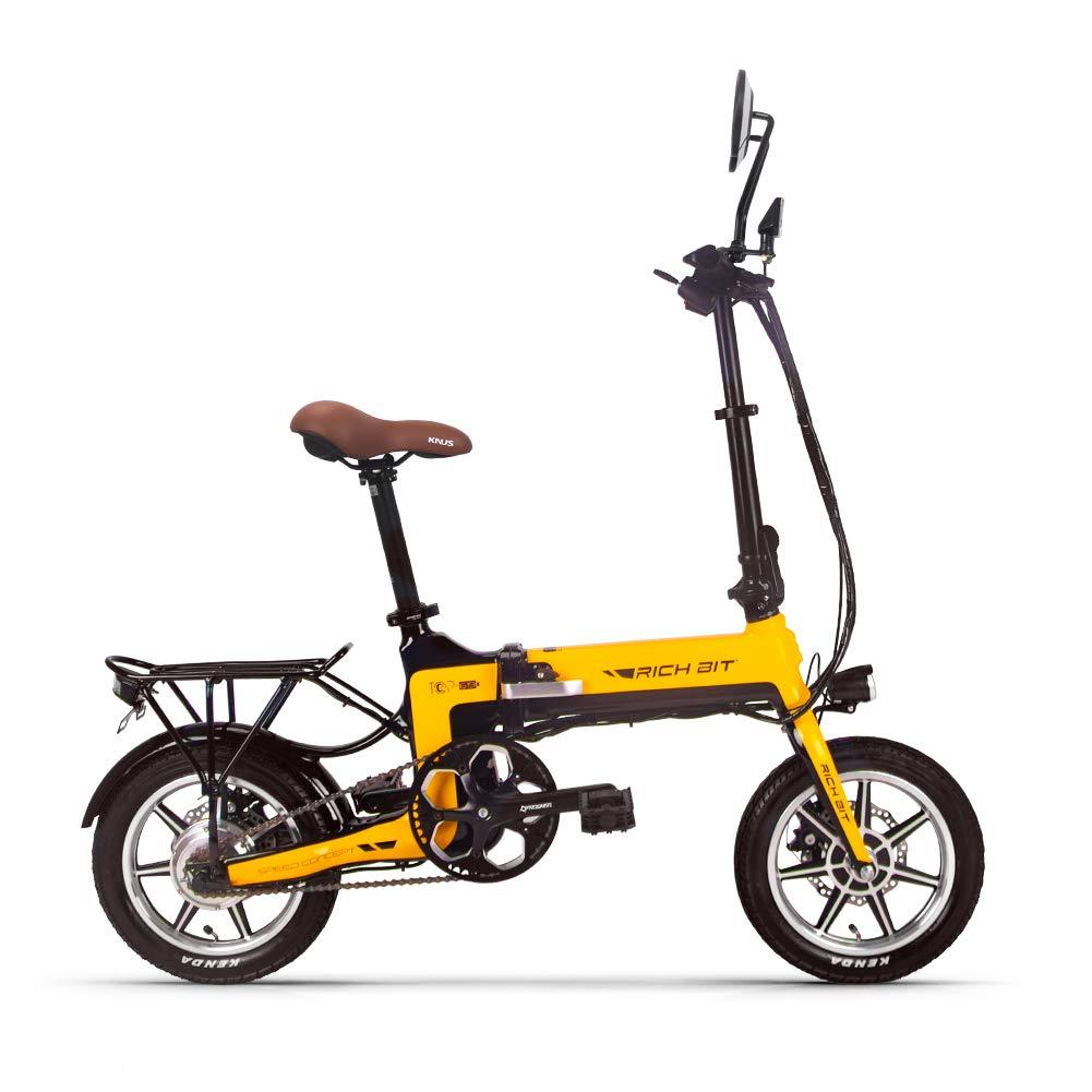 「1111いい買物の日 ポイント5% 自転車用福袋贈り」2018モデル 11月新品 電動アシスト自転車 14インチ 折りたたみフレーム コンパクト自転車 RICH BIT619 (イェロー)   B07KC3R8QP