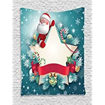 Ambesonne Christmas Decorations Collection, Santa Claus Star Banner Snowflakes Ribbon and Candy Cane Xmas Tree Winter Theme, Bedroom Living Room Dorm Wall Hanging Tapestry, Red White