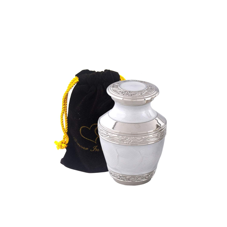 Elegant Pearl White /& Silver Cremation Urn Set of 4 Keepsake Solid Brass Everlasting Love Cremation Urn Premium Quality Silver Pearl White Cremation Urn for Human Ashes with Velvet Bag or Box