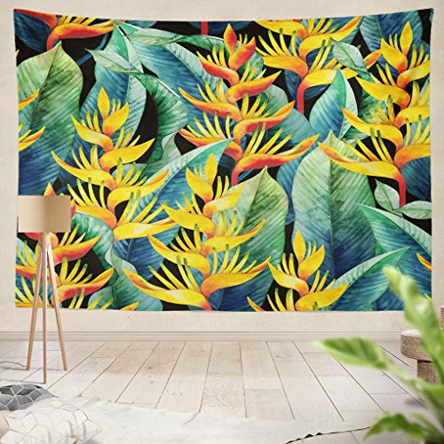 Summor Tapestry Watercolor Hel ia Exotic Leaves Flowers Hanging Tapestries 60 x 80 inch Wall Hanging Decor for Bedroom Livingroom Dorm ()