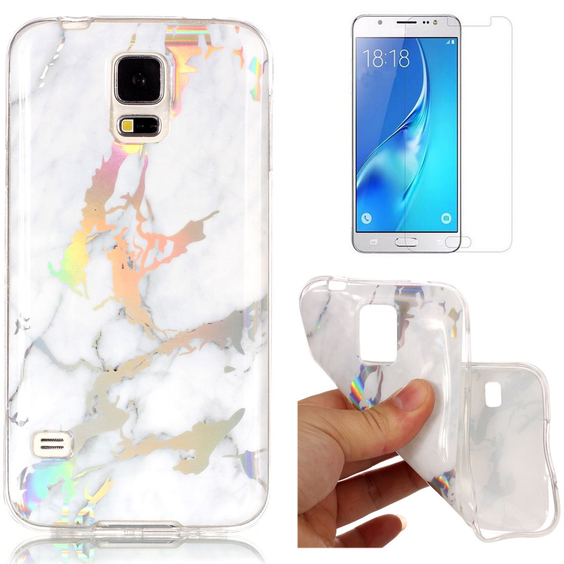 For Samsung Galaxy S5 Marble Case Purple,OYIME Unique Luxury Glitter Colorful Plating Pattern Skin Design Clear Silicone Rubber Slim Fit Ultra Thin Protective Back Cover Glossy Soft Gel TPU Shell Shockproof Drop Protection Protective Transparent Bumper and