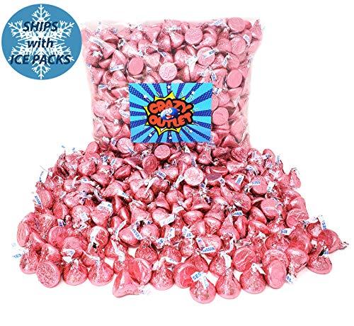 CrazyOutlet Pack - Hershey's Kisses Pink Foils, Milk Chocolate Candy Bulk, 2 ()