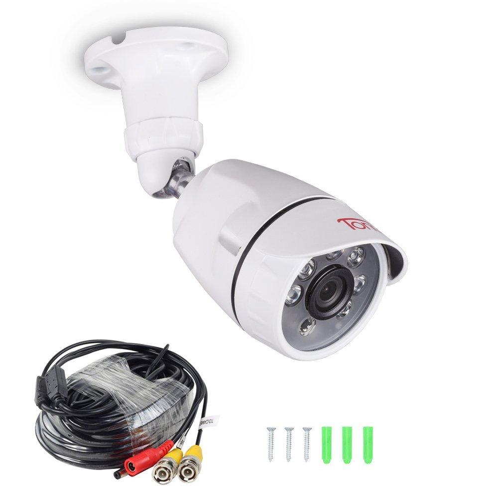 Tonton Full HD 1080P Outdoor Security Bullet Camera, 100ft Long Night Vision, 6 PCS Infrared LED IR Cut, Surveillance Camera, Compatible 20Ft BNC Cable, Compatible TVI/AHD DVR