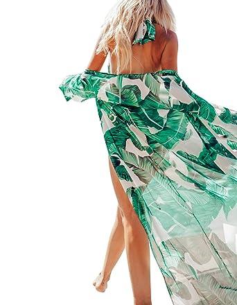 c40d66e7e6 Omerker Women's Summer Print Bikini Cover Up Swim Long Cardigan(Green)
