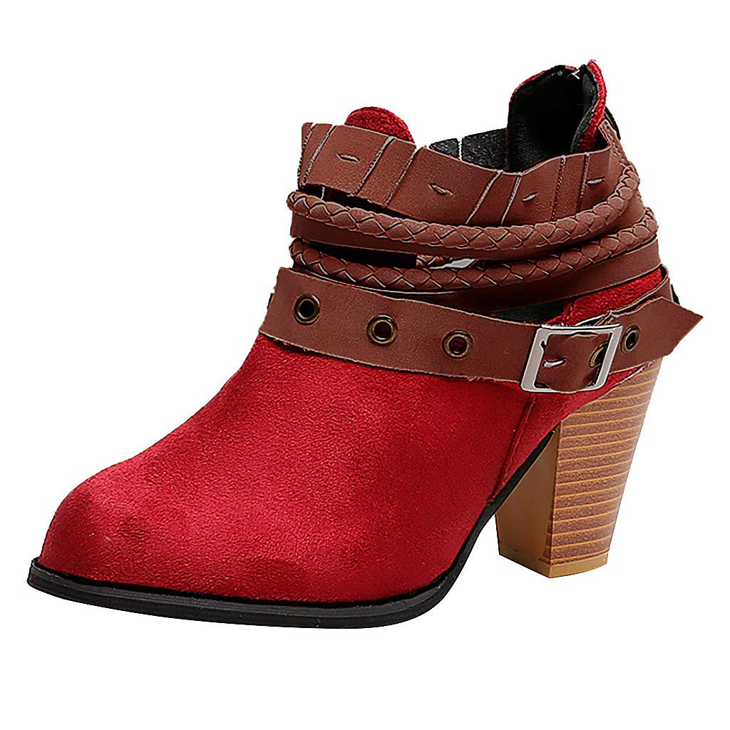 OutTop(TM) Women's Ankle Boots HIGT-Heel Retro Rivet Buckle Party Wedding Boots Square Heel Booties (US:6.5, Red)