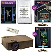 AtmosFearFx Christmas and Halloween Digital Decoration Kit includes 1900 Lumen Projector, Hollusion (DW) + Kringle Bros Projection Screens, Christmas and FamilyFriendly Compilation Videos on USB