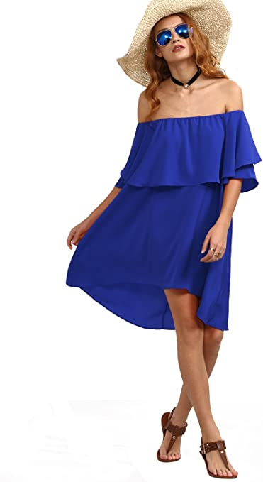 Women's Off The Shoulder Ruffle Casual Loose Shift Dress