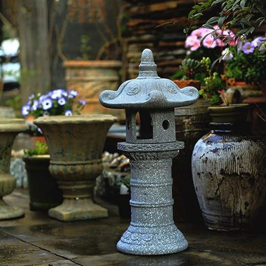 zenggp Gran Zen Pagoda Asia Linterna Jardín Decoración Estatua Torre Arte Al Aire Libre Oriental Oriental Césped Escultura Estatua De Piedra: Amazon.es: Hogar