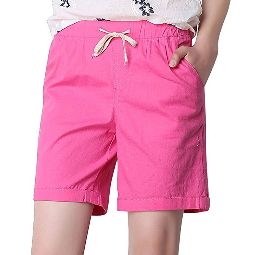 Women's Modest Loose Elastic Waisted Bermuda Drawstring Casual Shorts Rose Pink Tag M-US 2
