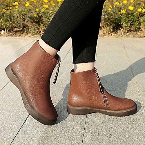 Short Clearance Women,Farjing For Student Sale Shoes Women's Flat Martin Boots Boots Brown Shoes Shoes Fashion Thick WxnnSOr