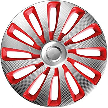 4pc set Wheel Trims Covers Hub Caps Sepang Carbon Silver Red (15 inch)