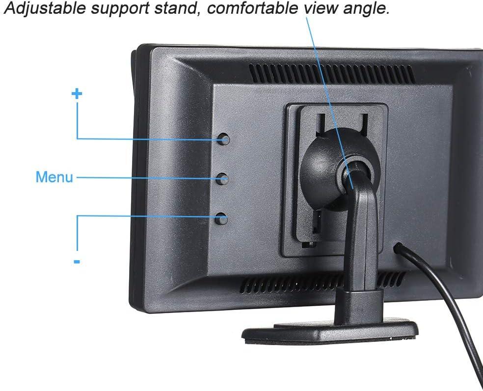 Sistema monitoraggio inverso di Backup con parcheggio KKmoon Monitor per Auto da 4,3 Pollici 480 x 272 Display Colori LCD TFT Schermo Monitor retrovisore con 2 ingressi AV telecamere retrovisive