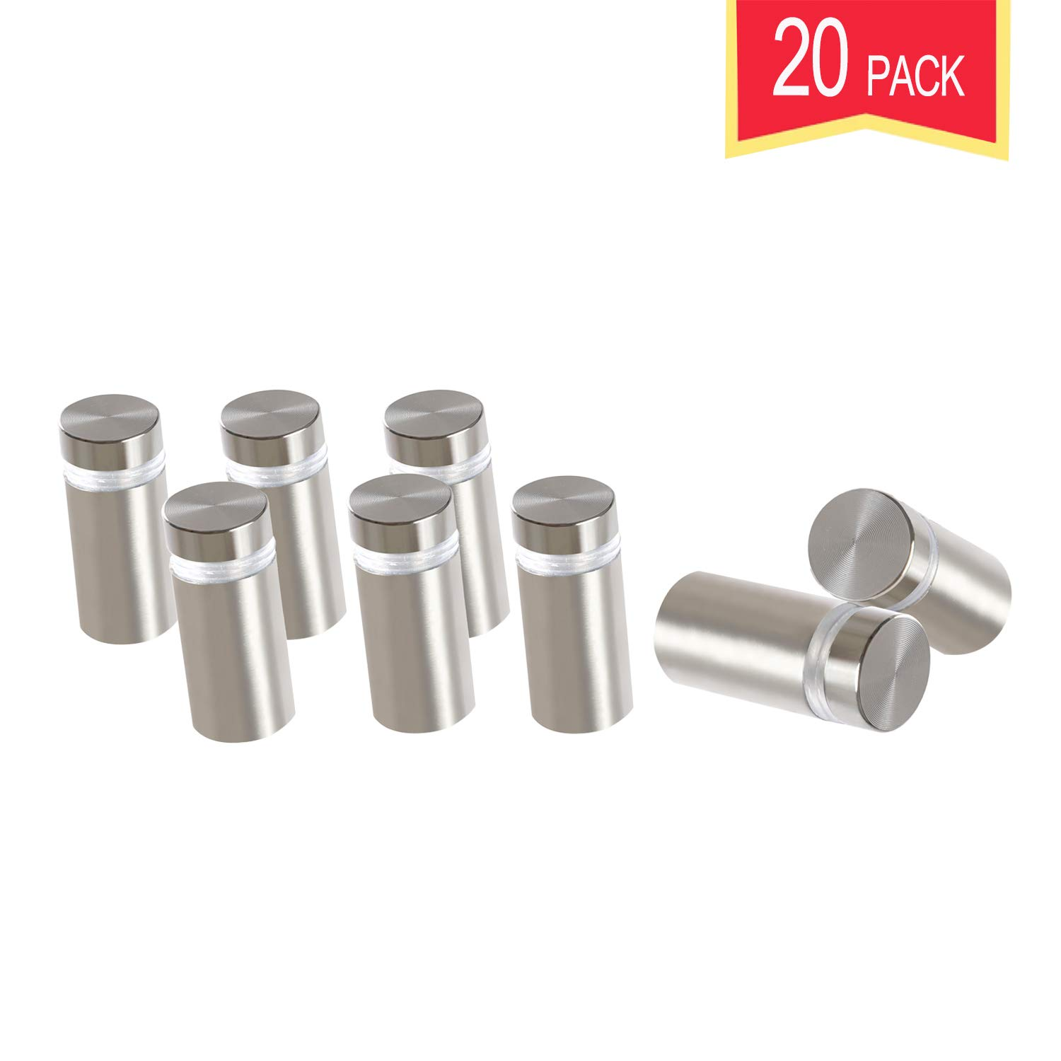 Standoff Screws for Wall Mount Acrylic Picture Frame Hardware 3/4'' x 1'' Aluminum Silver Finish Nails for Acrylic Glass Sign Holder 20 Pcs