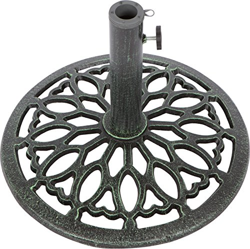 Trademark Innovations Cast Iron Umbrella Base -17.5 Inch Diameter (Green)